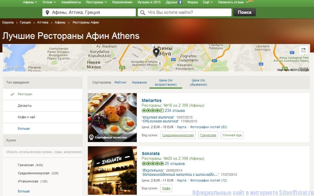 Трипэдвайзер - Список ресторанов