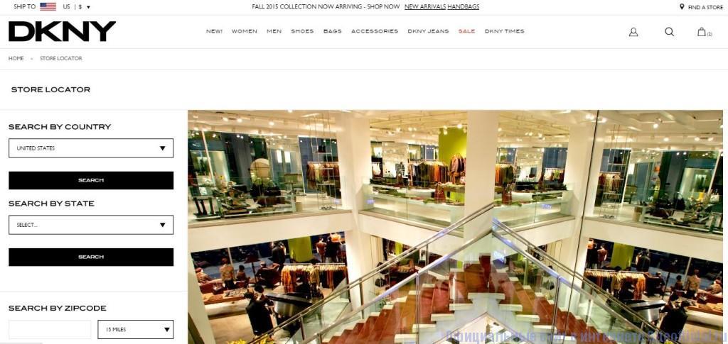 "DKNY официальный сайт - Вкладка ""Find a store"""