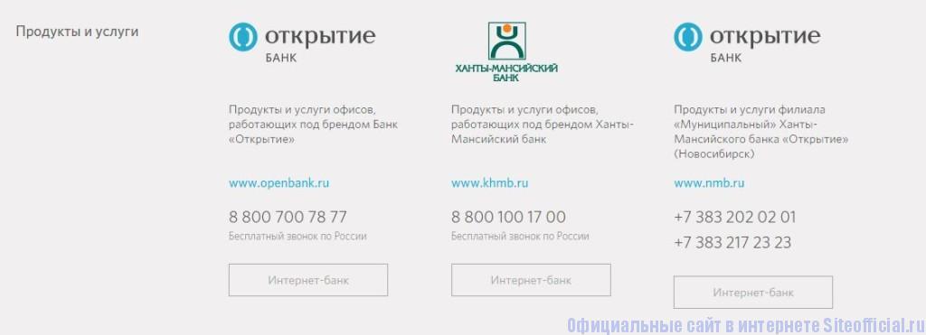 Официальный сайт Ханты-Мансийский банк Открытие - Вкладки