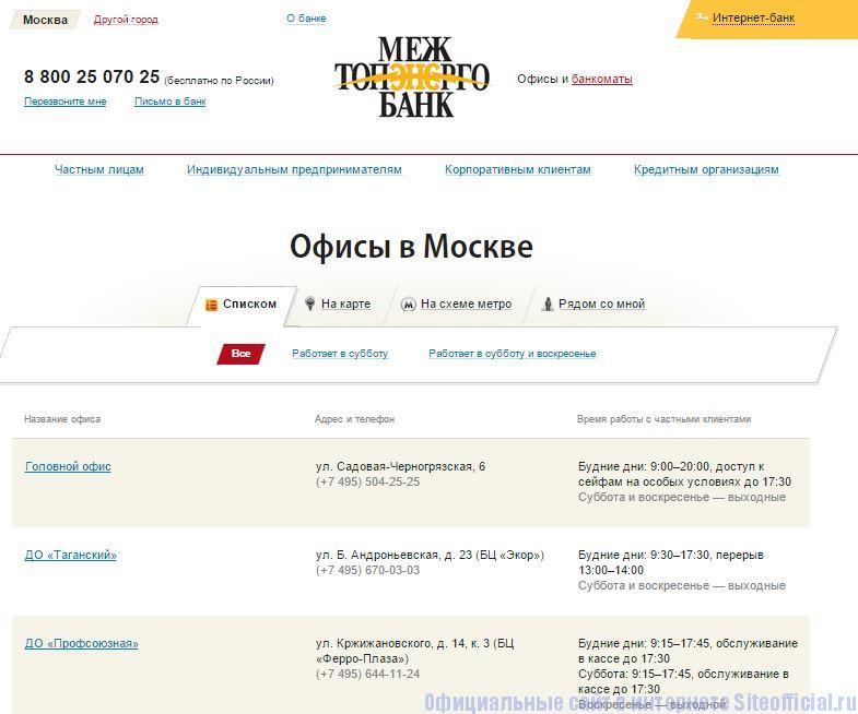 """Межтопэнергобанк официальный сайт - Вкладка """"Офисы"""""""