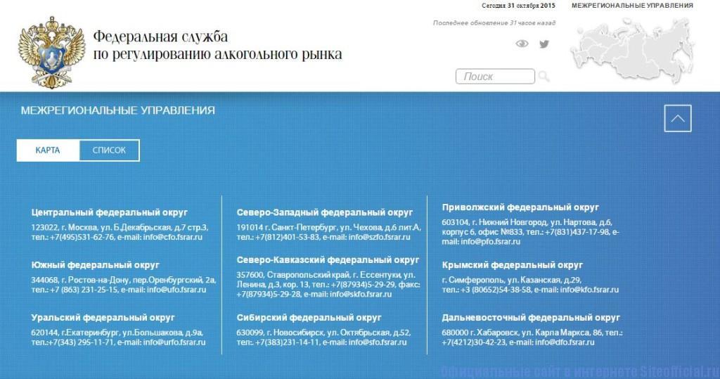 Росалкогольрегулирование официальный сайт - Межрегиональные управления