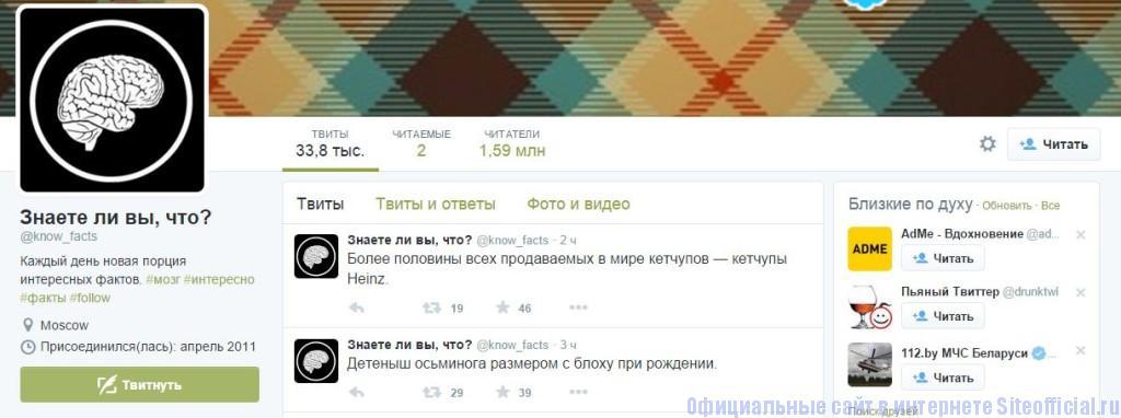 Твиттер - Страница пользователя