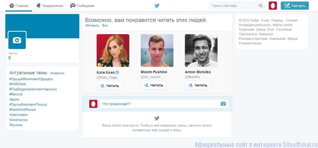 Твиттер - Личная страница
