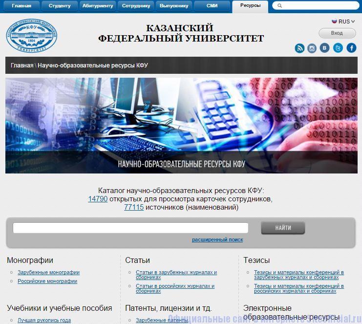 """КФУ официальный сайт - Вкладка """"Ресурсы"""""""