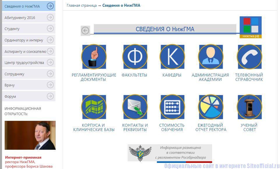 """Официальный сайт НижГМА - Вкладка """"Сведения о НижГМА"""""""
