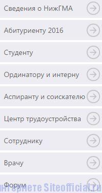 Официальный сайт НижГМА - Вкладки