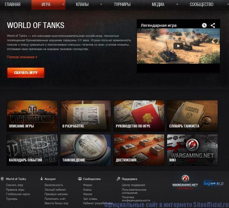 Про танки официальный сайт - Вкладки