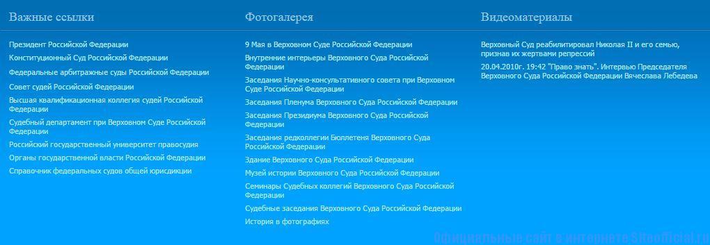 Верховный Суд РФ официальный сайт - Вклади