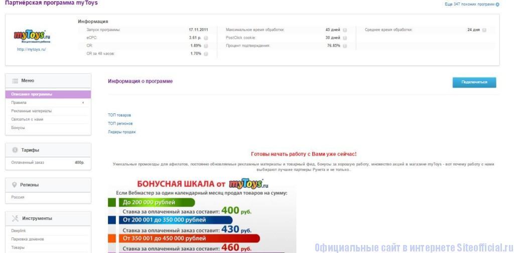 Admitad - Информация о программе