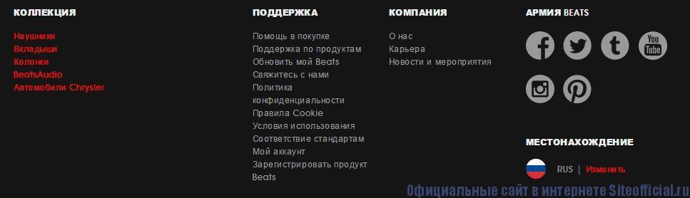 Наушники Beats официальный сайт - Вкладки