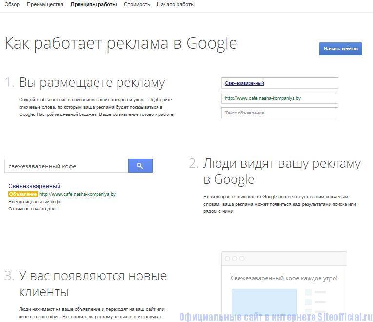"""Гугл Адвордс - Вкладка """"Принципы работы"""""""