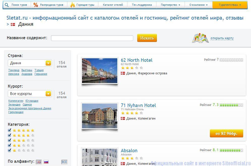 """Слетать ру официальный сайт - Вкладка """"Каталог отелей"""""""
