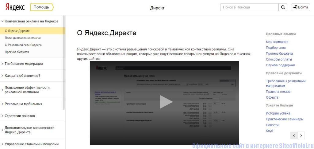"""Яндекс Директ - Вкладка """"Помощь"""""""