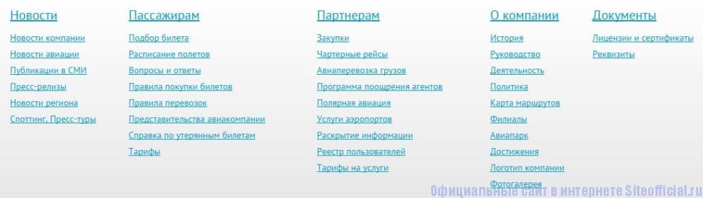 КрасАвиа официальный сайт - Вкладки