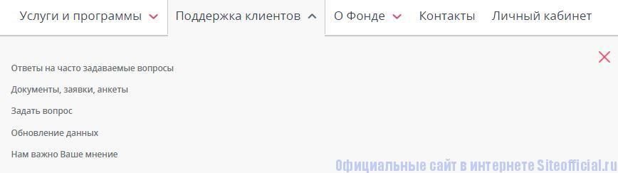 """НПФ Лукойл Гарант официальный сайт - Вкладка """"Поддержка клиентов"""""""
