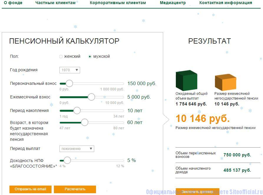 НПФ Благосостояние официальный сайт - Пенсионный калькулятор