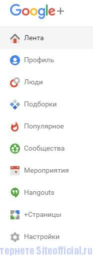 Гугл плюс - Вкладки