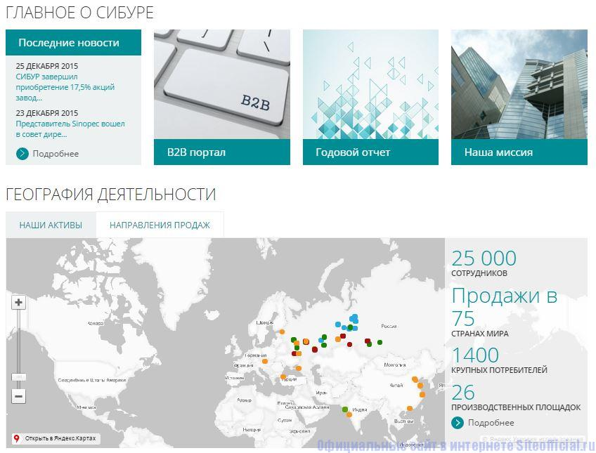 Сибур официальный сайт - Вкладки