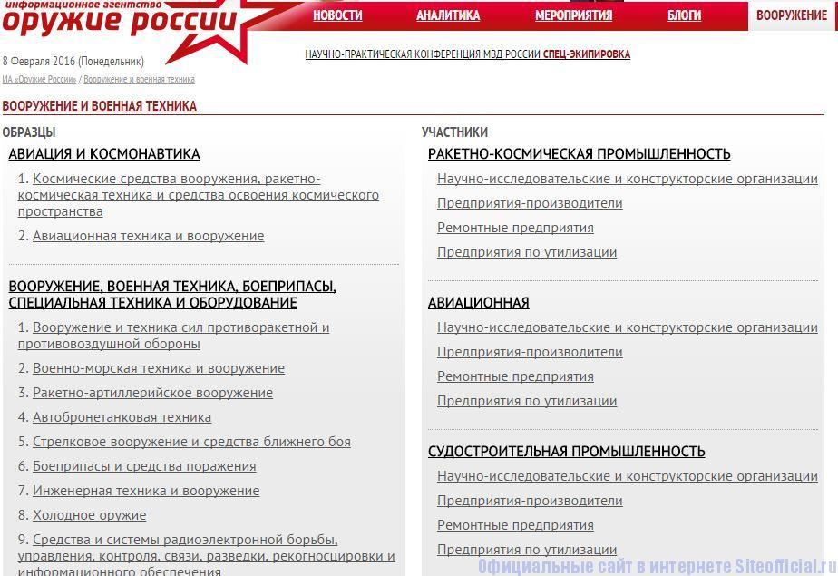 """Оружие России - Вкладка """"Вооружение"""""""