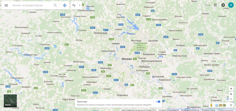 Гугл Карты - Главная страница