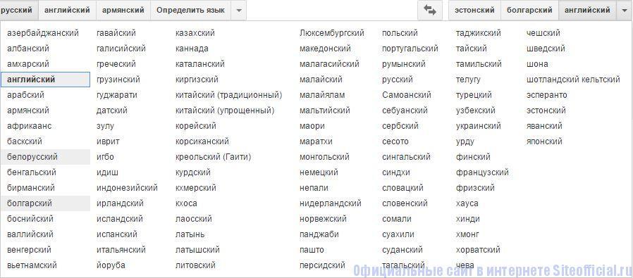Гугл Переводчик - Список языков