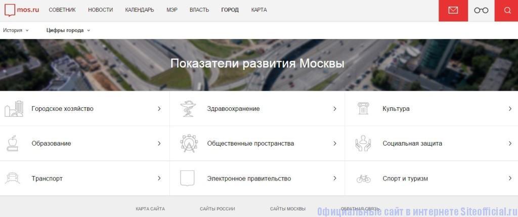 """Правительство Москвы официальный сайт - Вкладка """"Город"""""""