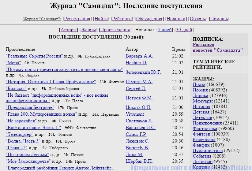 """Самиздат - Вкладка """"Новинки"""""""