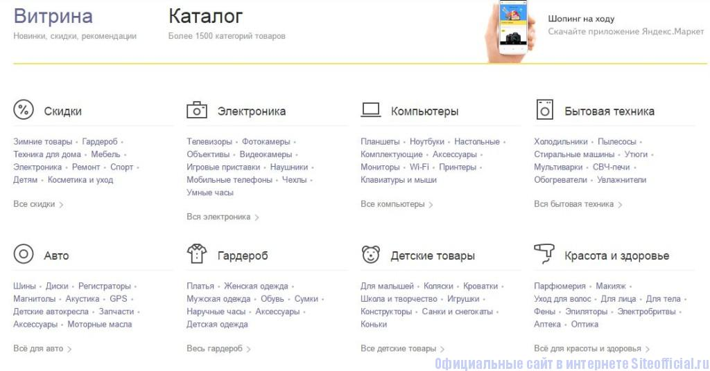 "Яндекс.Маркет - Вкладка ""Каталог"""