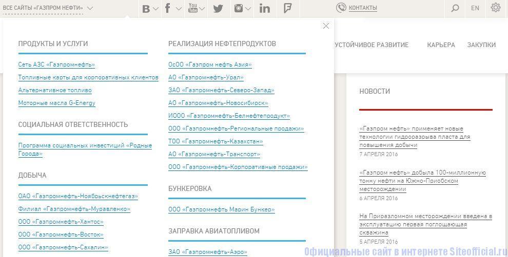 Газпромнефть официальный сайт - Вкладки