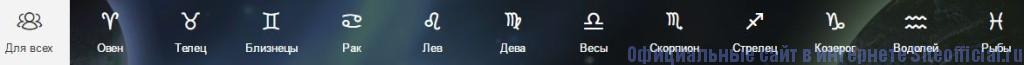Рамблер гороскоп - Вкладки