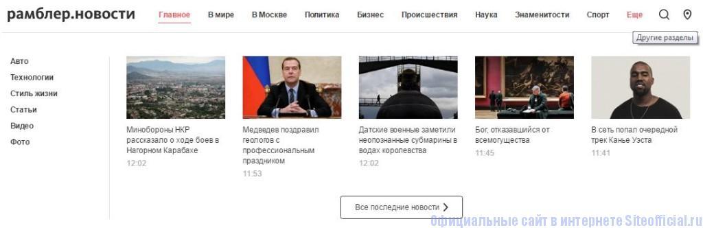 Рамблер новости - Вкладки