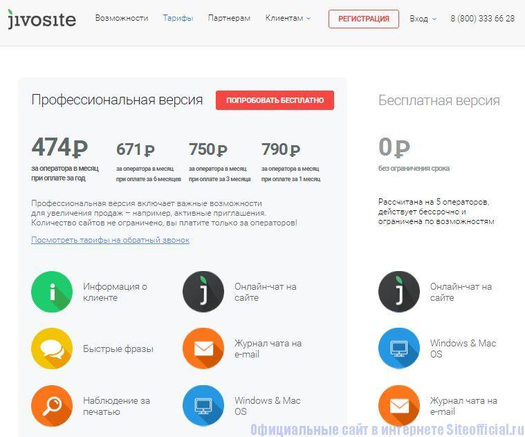 """Живой сайт официальный сайт - Вкладка """"Тарифы"""""""