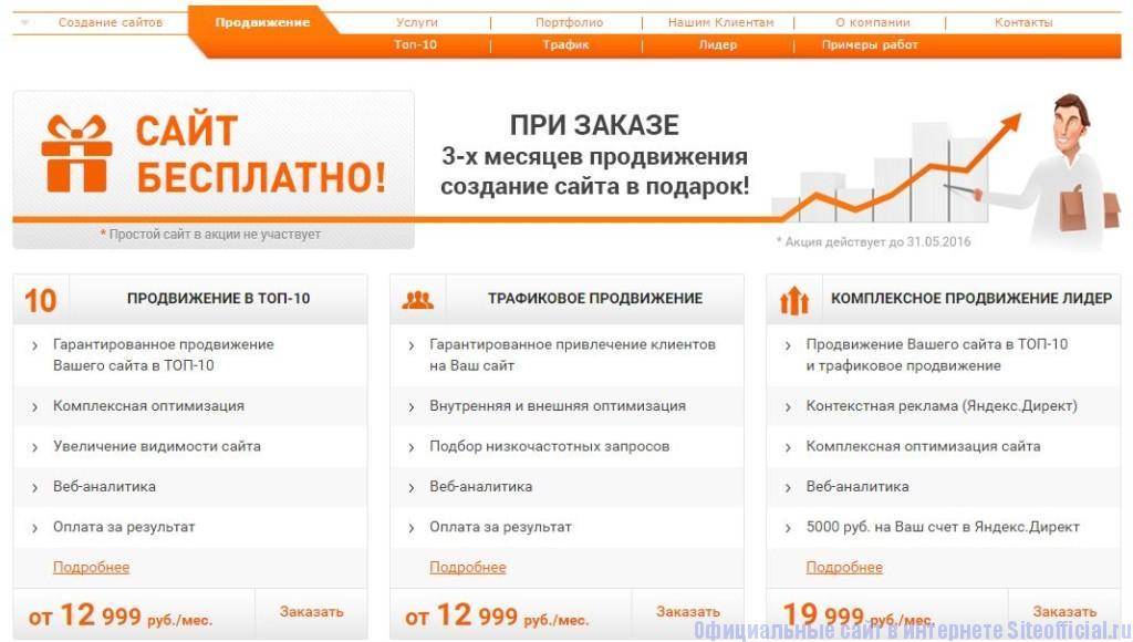 """Фабрика сайтов официальный сайт - Вкладка """"Продвижение"""""""