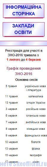 ЗНО-2016 официальный сайт - Вкладки