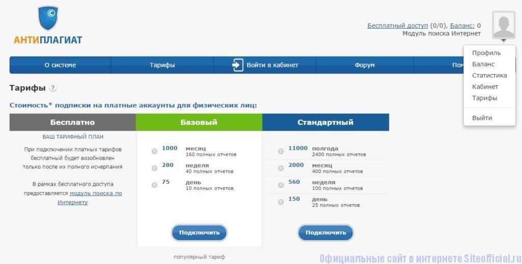 Антиплагиат.Ру официальный сайт - Вкладки