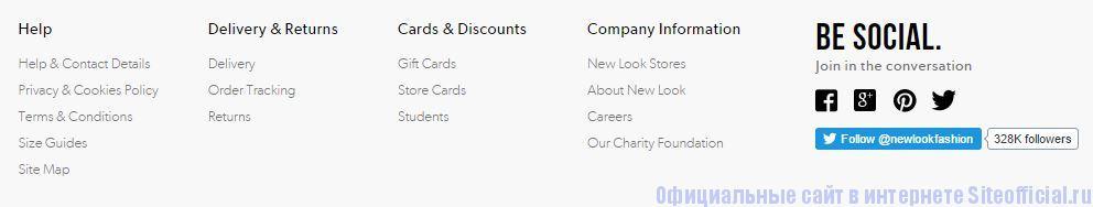 Официальный сайт New Look - Вкладки