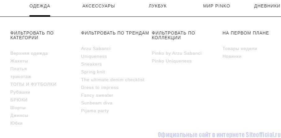 """Официальный сайт Pinko - Вкладка """"Одежда"""""""