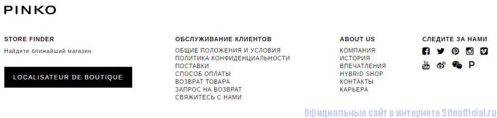 Официальный сайт Pinko - Вкладки