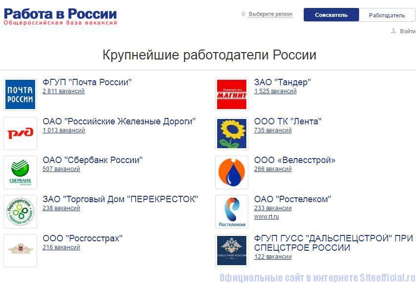 """Трудвсем ру официальный сайт - Вкладка """"Крупнейшие работодатели"""""""