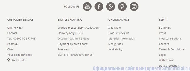 Официальный сайт Esprit - Вкладки