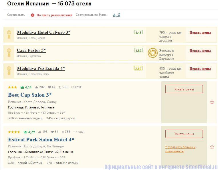 Топ Хотелс ру официальный сайт - Список отелей