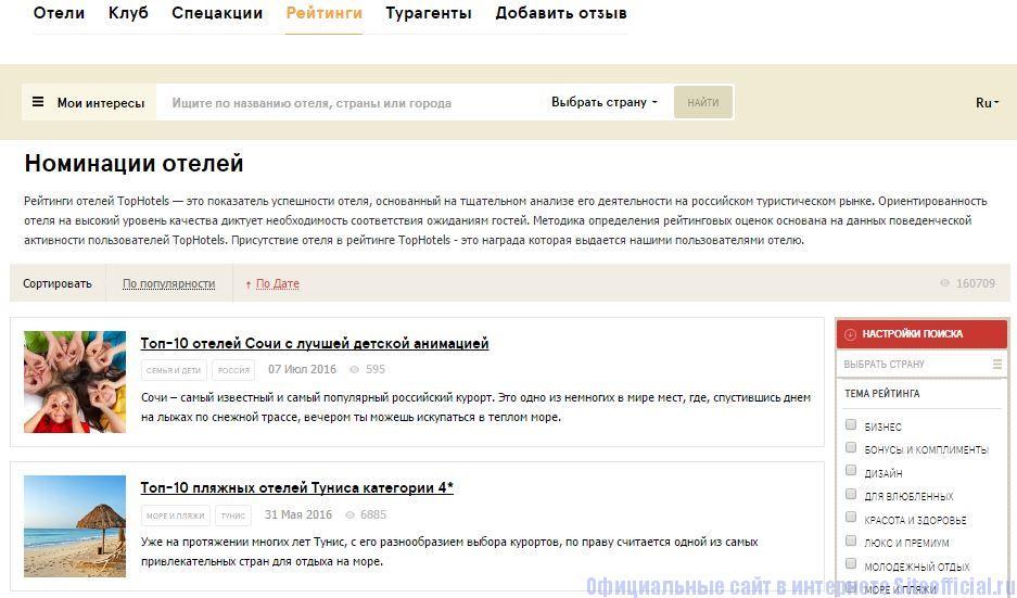 """Топ Хотелс ру официальный сайт - Вкладка """"Рейтинги"""""""