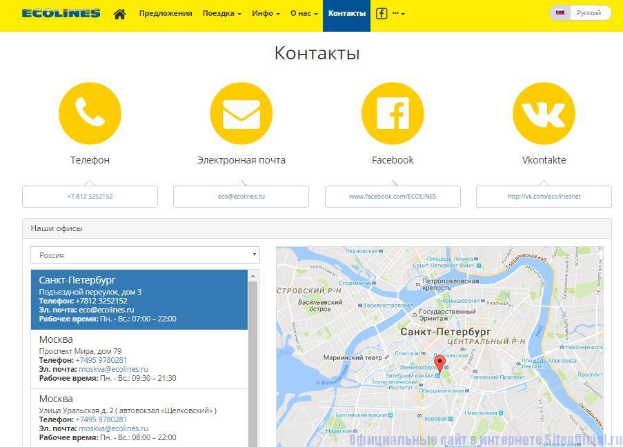 """Эколайн официальный сайт - Вкладка """"Контакты"""""""