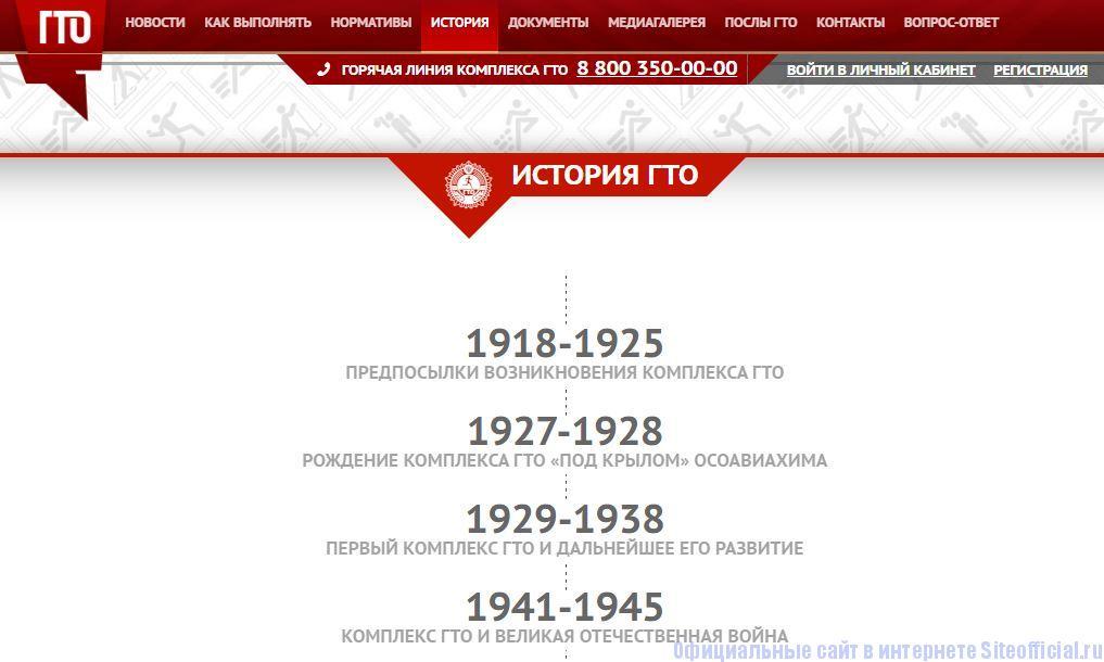 """ГТО ру официальный сайт - Вкладка """"История"""""""