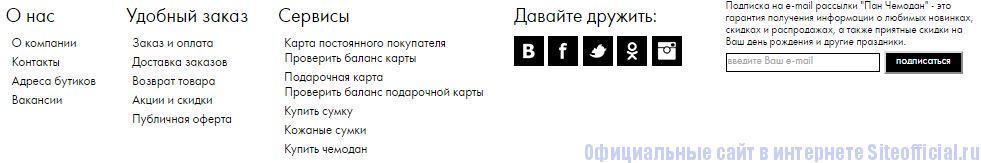 Панчемодан ру официальный сайт - Вкладки