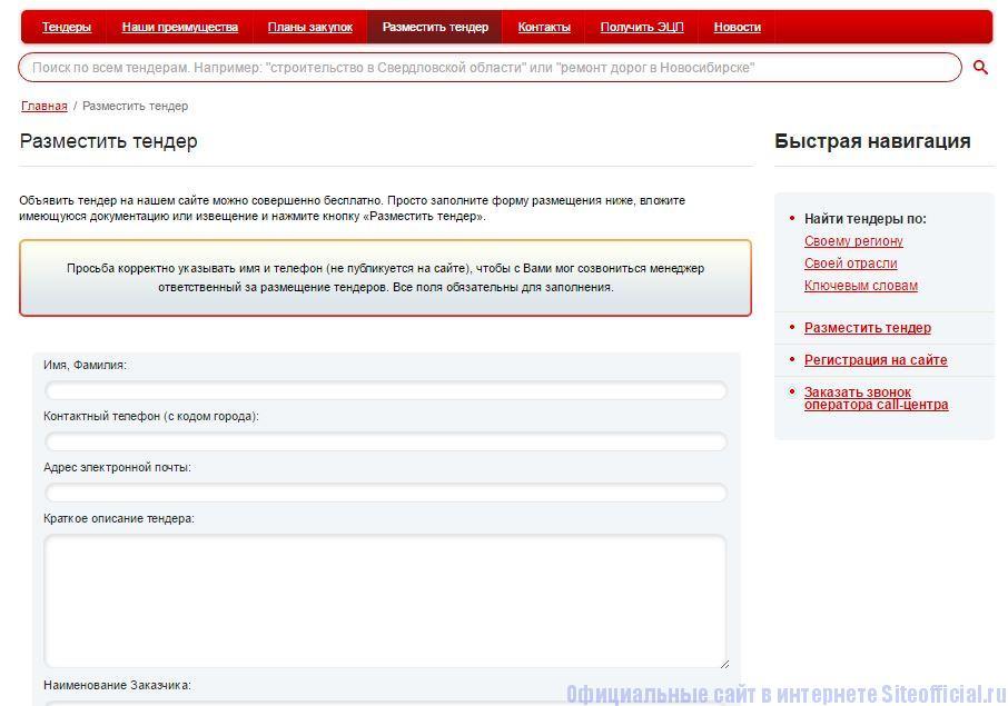 """Ростендер ру официальный сайт - Вкладка """"Разместить тендер"""""""
