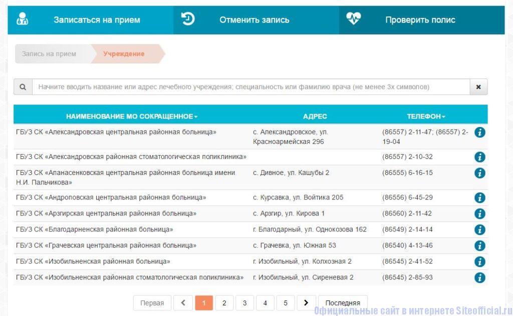 """Медуслуги26 ру официальный сайт - Вкладка """"Записаться на приём"""""""