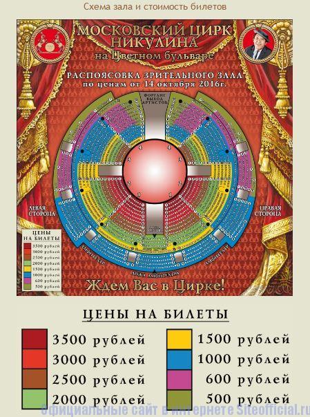 Схема зала на официальном сайте Цирк на Цветном бульваре