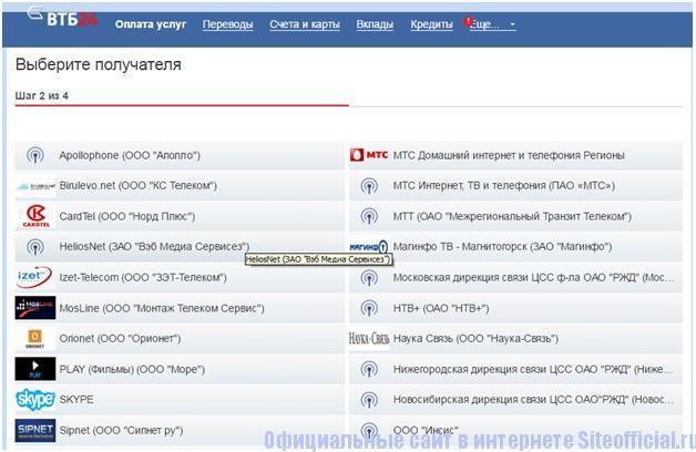 Перевод денег в ВТБ 24 личном кабинете