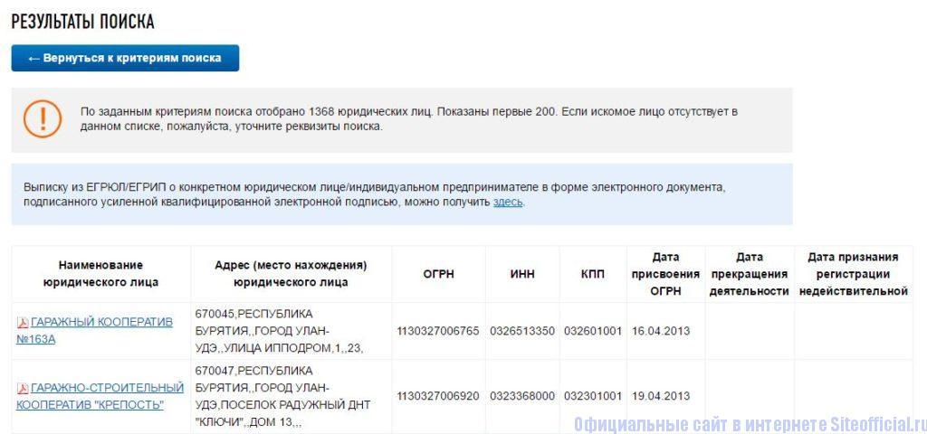 Результаты поиска на официальном сайте Егрюл.налог.ру